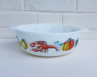 Vintage Pyrex lobster easy grip 3 pint round casserole dish 1960s pattern 2187