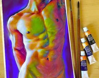 young man, twink, gay art, male figure, male study, Original painting, torso
