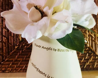 Memorial Magnolia Floral Arrangement/3 Magnolia Blossoms/Spanish Moss/Green Leaves/Flower Angels Saying on Vase/Mother's Day