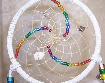 Rainbow CHAKRA Triple Spiral 5 Inch Dreamcatcher in White by Feathered Dreams