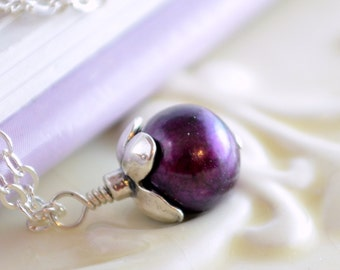 Burgundy Pearl Necklace for Child, Genuine Freshwater Pearl Pendant, Sterling Silver Flower Girl Jewelry