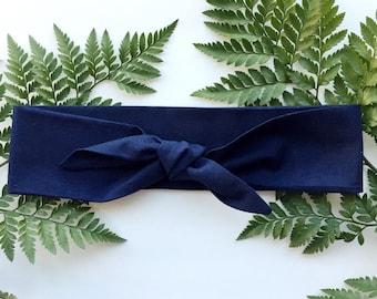 Solid Navy - Headband Headscarf Neckscarf Adult