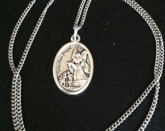 Guardian Angel holy medal necklace. Catholic jewelry. Christian, religious, faith gift