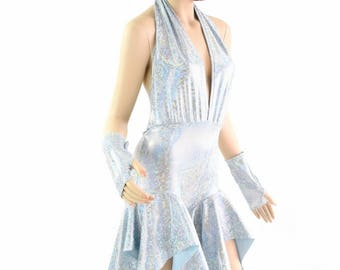 """Frostbite Shattered Glass """"Josie"""" Backless Plunging Halter Pixie Romper with Fingerless Gloves 154373"""