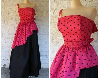 1980s Prom Dress / Polka Dot Prom Gown / Pink Black Formal Gown / Loralie Maxi Dress / Vintage 1980s Pink Polka Dot Peplum Prom Dress   XS