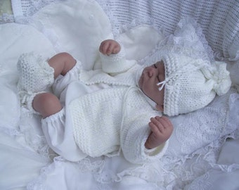 baby doll  reborn  knitting pattern for jacket  hat and shoes  birth to 6m pattern only instand download