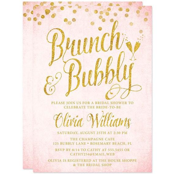 Printed bridal shower invitations blush pink and gold brunch for Champagne brunch bridal shower