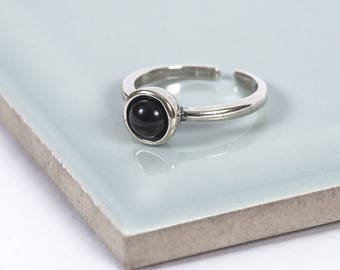 Sterling Silver Black Moon Midi Ring