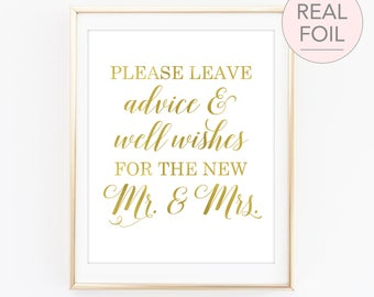 Please Leave Advice and Well Wishes for the New Mr and Mrs Sign, Wedding Advice Sign, Please Leave Advice Sign, Advice Sign Wedding (FS4)