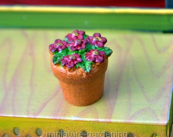 Pot of Flowers, Color Options: Red for Miniature Garden, Fairy Garden