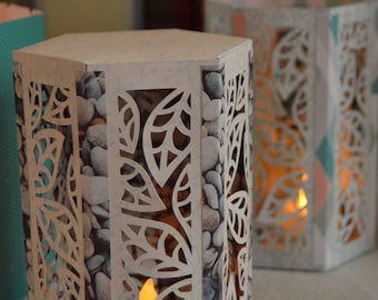 Cut Paper Lantern/Luminaria - Leaf Patterned - Ready to Assemble