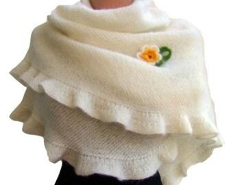 White Mohair Wedding Hand Knit Ruffle Shawl with Crochet Flower, Bridal Wrap