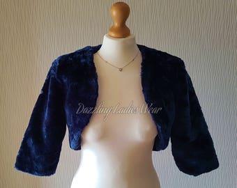 Dark Blue Faux Fur Bolero 3/4 Sleeves / Shrug / Jacket / Shawl / Wrap / Weddings Full Satin Lining - UK 4-26, US 2-24, EUR 32-54