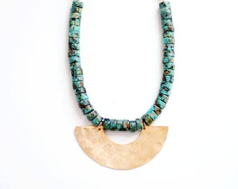 Turquoise Bead Half Moon Necklace | Leather Necklace | Long Stone Necklace | Turquoise Necklace | Turquoise Jewelry | Brass Necklace