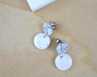 White earrings, everyday earrings, drop earrings, white matte earrings, white studs, polymer clay jewelry, gift for women