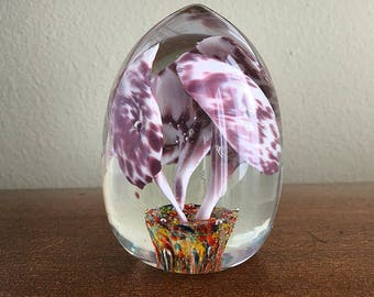Glass Flower Paperweight, Egg Shape Art Glass, Reddish Brown and White Calla Lilies, Office Decor, Cottage Chic