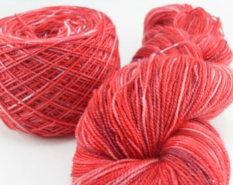 Hand dyed Sock Yarn Sparkling Silver Light Red Sparkle 100 gram skein handdyed hand-dyed