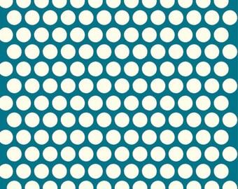 Organic Teal Polka Dot Fabric - Birch Dottie 1/2 Yard