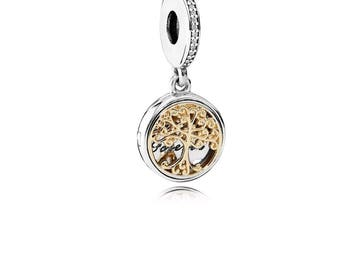 Genuine Family Tree Roots Two Toned Dangle Charm /Fully Stamped