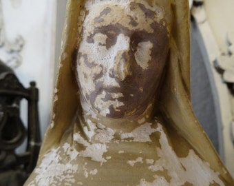 Vintage Shabby Cottage Religious Virgin Mary Statue French