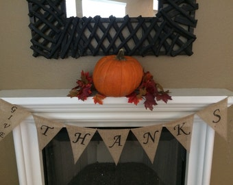 Give Thanks Burlap Banner, Give Thanks Banner, Give Thanks Sign, Burlap Fall Banner, Burlap Fall Sign, Fall Decor, Thanksgiving Banner