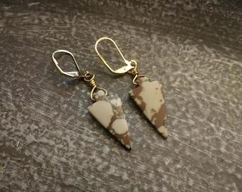 Jasper Arrowhead Earrings in Brass with Handmade Gift pouch