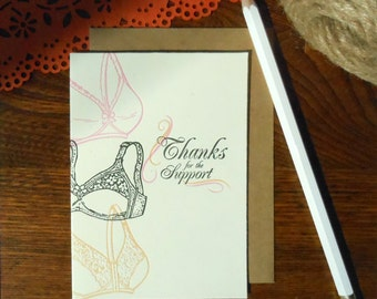 letterpress thanks for the support greeting card pack/6 layers of nude black and pink bras with pretty script font on mint paper