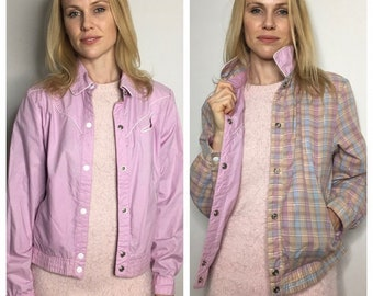 S Reversible Western Inspired Light Parka with White Button Snaps - Size Small