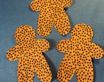 """Die Cut Applique Shapes. Set of 3,  Chocolate Chip Fabric, 5 x 3 3/4""""  Gingerbread Man Shapes.  .  Fusible(Iron On)."""