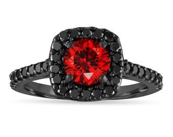 1.67 Carat Red Diamond Engagement Ring, Fancy Red Diamond Wedding Ring, 14K Black Gold Unique Certified Handmade