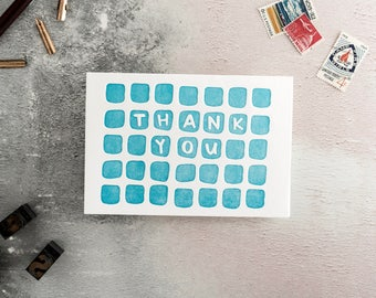 Thank You Squares Letterpress Card