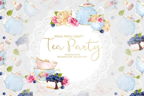 Watercolor tea party clipart teacup teapot blueberry cake bridal watercolor tea party clipart teacup teapot blueberry cake bridal shower invitation handpainted flowers floral romantic original diy pack from froufroucraft filmwisefo Gallery