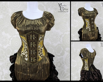 Steampunk Swing Hook Busk Steel Boned Corset with Pleated Silk Trim - Olive & Brown - You Choose Your Corset Style - Custom Sized