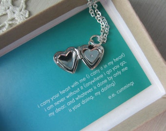 I carry your heart with me (i carry it in my heart) mini heart locket with custom hand stamped letter heart inside
