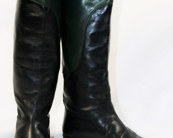 Vintage GUCCI 2 Tone Black Green Leather Riding Boots Size 5 M US - 35 B EU - Made In Italy
