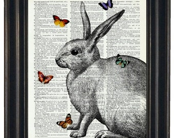 Rabbit Dictionary Art Print with HHP Signature Butterflies Wall Decor Dictionary Print Book Page Print