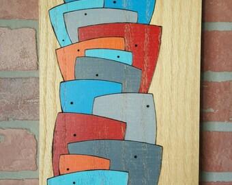 "Small Accomplishment - 8"" x 11.75"" - original art - wood burned - Pyrography - Prismacolor pencils - oak - abstract home decor - man cave"