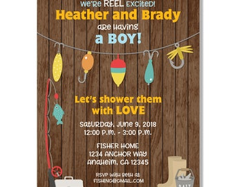 Reel Excited Fishing Baby Shower Invitation  - Digital File
