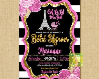 Paris Baby Shower Invitation, Ooh Lala Baby Shower Invitation, Paris Gold Glitter Baby Shower, Parisian Baby girl Shower, Bébé Shower Paris