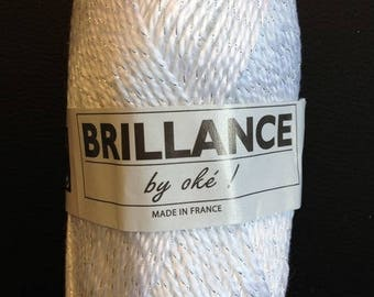 Yarn brilliant silver shine brand Oké # 402 white