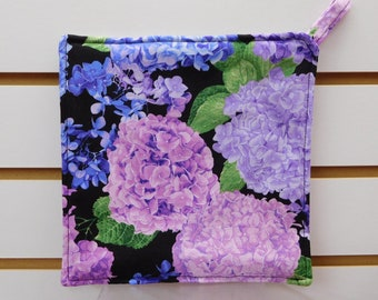 """666 Hydrangeas Hot Pad, Beautiful Floral Hot Pad, Pot Holder, Fabric Trivet, Quilted Heat Resistant Backing, 7-3/4"""" by 7-3/4"""" Square"""