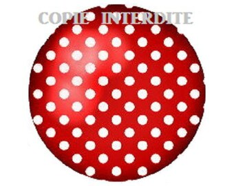 25mm cabochon polka dot red background