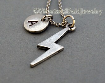 Lightning bolt necklace, lightening bolt, antique silver, initial necklace, initial hand stamped, personalized, monogram