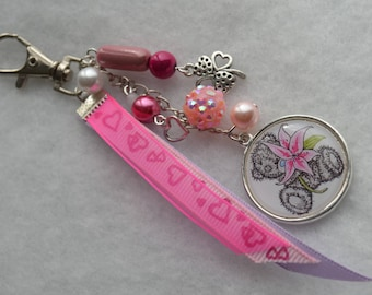 """Keyring or bag charm """"me to you"""" with pink flower"""