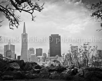 Peeking at San Francisco Photo Fine Art Photography Black&White Urban Architecture CityScape California View from Coit Tower