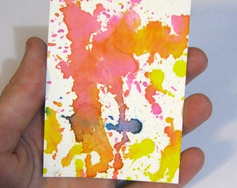 OOAK abstract watercolor ACEO, Original ATC small painting