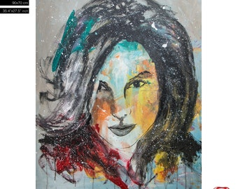 """Model Pop Art Portrait - (90x70cm) 35.4""""x27.6"""" Free Shipping - acrylic painting ready to hang - hand painting by Carlos Pun"""