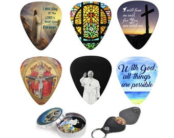 Cool Guitar Picks - Christian Plectrum Set Bible Inspired Prints & Meaningful Messages Best Catholic Guitar Player Gift - Christmas Gift