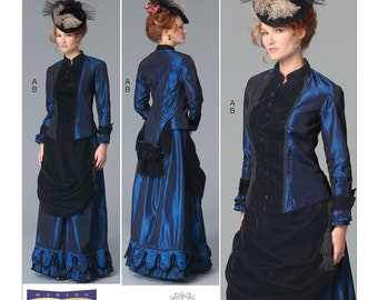 Sewing Pattern-Butterick 6305-Steampunk Victorian Top and Drape-Front Skirt- Size 8- 16