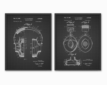 Headphones Patent Prints Set Of 2 - Audio Headphones Design - Stereo Headphones - Music Art - Bedroom Wall Art - Headphones Dorm Decor